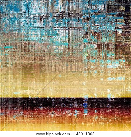 Retro style abstract background, aged graphic texture with different color patterns: yellow (beige); brown; blue; red (orange); black; cyan