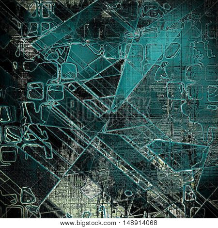 Geometric antique frame or background with vintage feeling. Aged texture with different color patterns: gray; blue; black; cyan