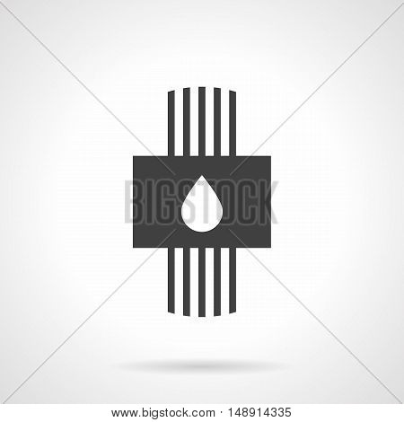 Plumbing and water system symbol. Hydronic heated floor model. Pipes and panel with drop sign. Monochrome black flat design vector icon.