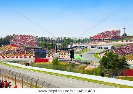 Spectators on tribunes on The Formula 1 Grand Prix