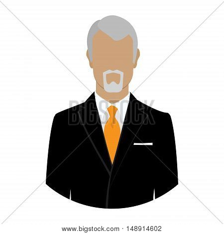 Senior businessman boss owner flat profile icon male portrait vector illustration. Avatar flat design