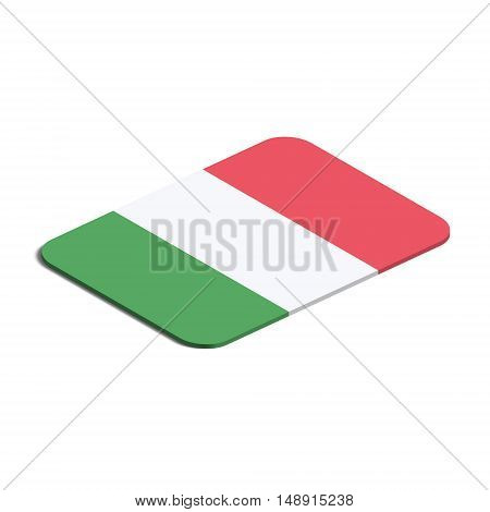 Flag of Italy. Background white. Flag of Italy isolated. 3d vector eps.