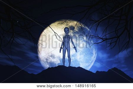 3D render of an alien against moonlit sky