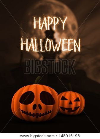 3D render of spooky pumpkins in haunted castle landscape with sparkler writing