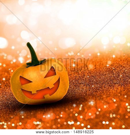 3D render of a Halloween pumpkin on glittery background