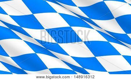 Waving flag of Bavaria. 3D illustration.