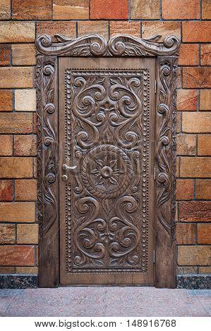 Vintage Wooden front door of a home. Old Wooden Door.