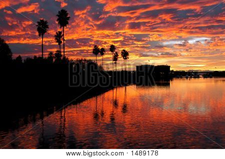 Dramatic Red Sunset Reflected  Over Stockton
