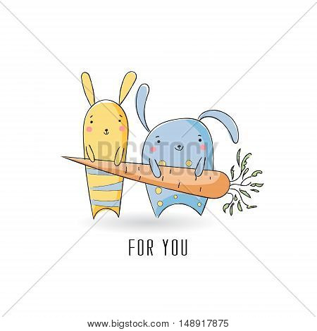 Cute rabbits with carrot sketch illustration. Postcard or Greeting card or T-shirt Grafics. Vector illustration.