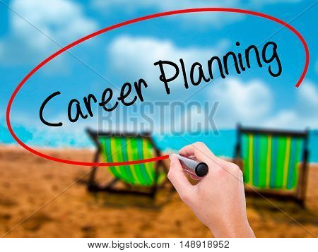 Man Hand Writing Career Planning With Black Marker On Visual Screen