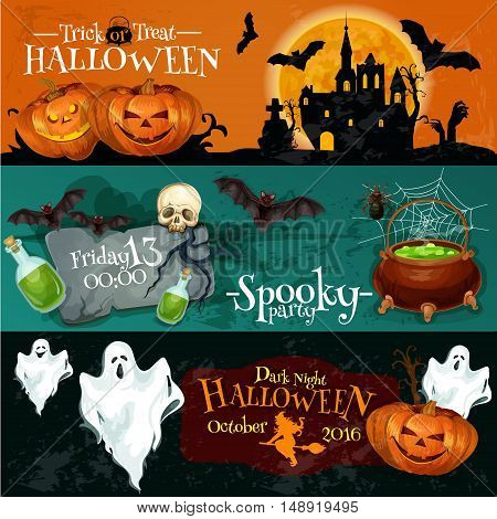 Traditional Halloween invitation banners with text Trick or Treat, Dark Night Spooky Party, Halloween Party. Vector elements of pumpkin lantern, haunted vampire castle, cauldron, ghosts