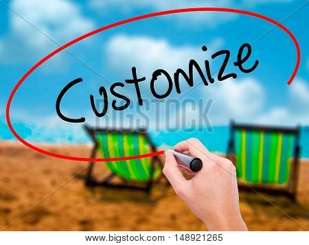 Man Hand Writing  Customize With Black Marker On Visual Screen