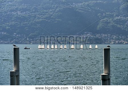 BELLANO, ITALY - JUNE 28, 2016: Bellano (Lecco Lombardy Italy) and the lake of Como (Lario) at summer. Sailing.