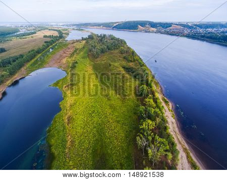 Aerial shot of the river of Kama, Russia
