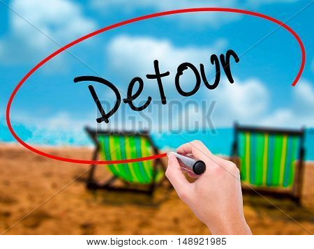 Man Hand Writing Detour  With Black Marker On Visual Screen