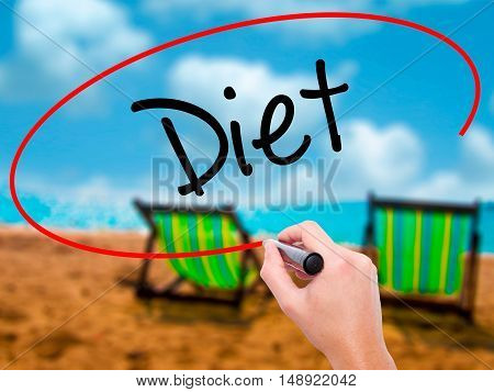 Man Hand Writing Diet (in Portuguese)  With Black Marker On Visual Screen