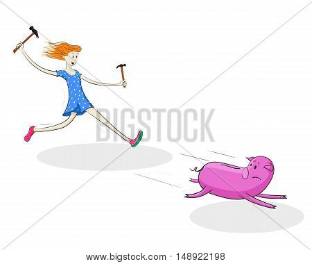 Young woman trying to catch piggy bank