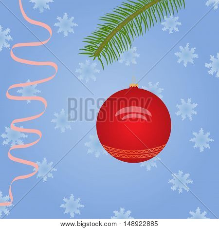 Christmas ornament on a background of branches of spruce, snowflakes, streamers