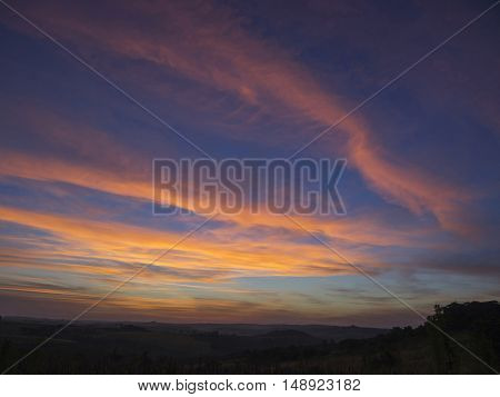Sunsets in rural Tamarana County State of Parana Brazil