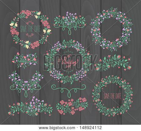 Floral Frame Collection. Wedding set flowers wreaths. Vector illustration