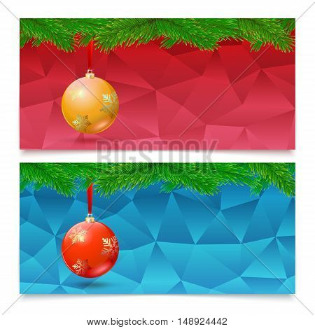 Set of three horizontal Christmas and New Year banners. Fir tree branches on the background made of triangles with bright balls.