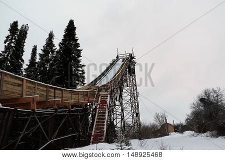 Springboard For Ski Jumping In The Park