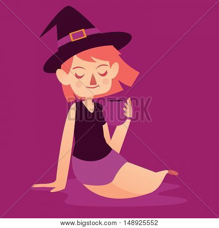 Cute Witch With Mug