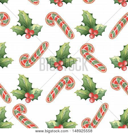 Watercolor Christmas seamless pattern 2. Handmade drawing. For registration of festive cards, wrapping paper, packaging.