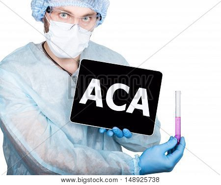 Doctor holding a tablet pc with aca sign on the display. isolated on white
