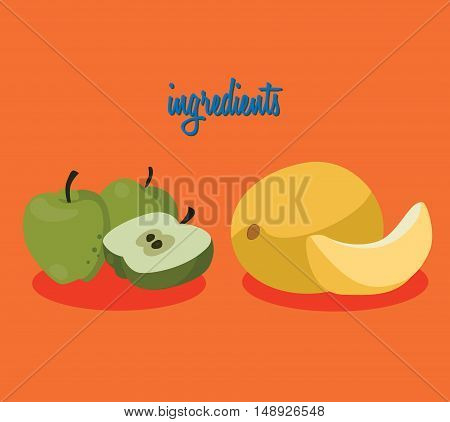 Food. The ingredients - apples and melon. For your convenience each significant element is in a separate layer. Eps 10