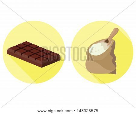 Semolina and chocolate - food is harmful to the intestines. For your convenience each significant element is in a separate layer. Eps 10