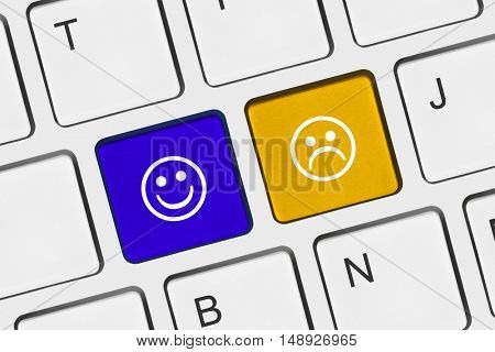 Computer keyboard with two smile keys - internet concept