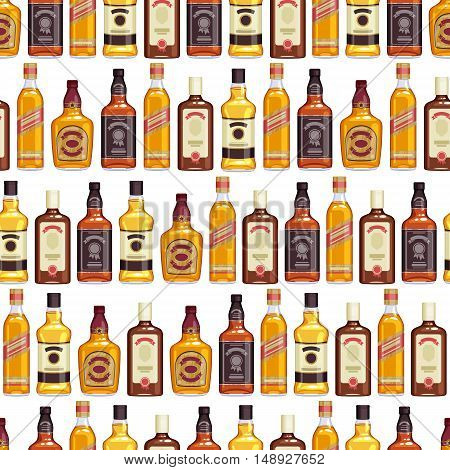 Whisky bottles seamless pattern background. Strong alcohol vector illustration. Drink bar party menu design.
