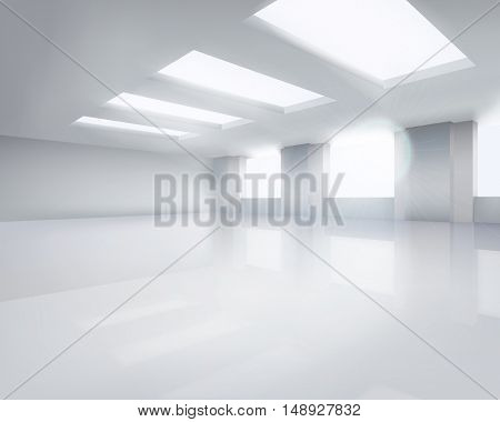 Large empty room. Vector illustration.
