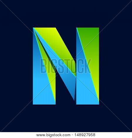 N letter line colorful logo. Abstract trendy green and blue vector design template elements for your application or corporate identity.