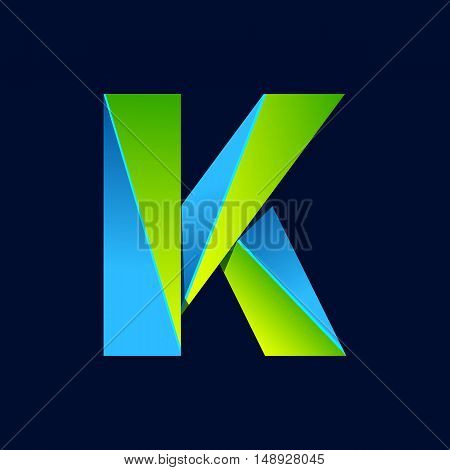 K letter line colorful logo. Abstract trendy green and blue vector design template elements for your application or corporate identity.