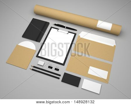 Mockup business template with clipboard notepad and envelopes. Recycled paper background. 3d illustration.