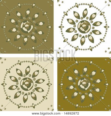 Motives For Seamless Background - Graphic Flower Faces