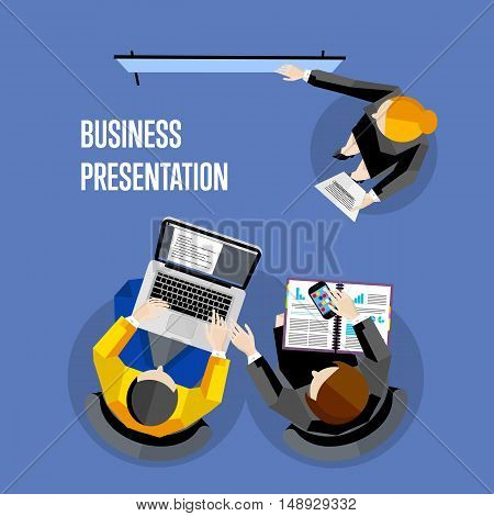 Top view business presentation banner, vector illustration. Businesswoman making presentation near whiteboard on blue background. Business seminar or training. Board meeting in office.