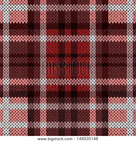Seamless Knitted Pattern In Red And Brown Hues