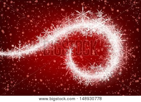 Red winter background with whirl of snowflakes. Vector illustration.