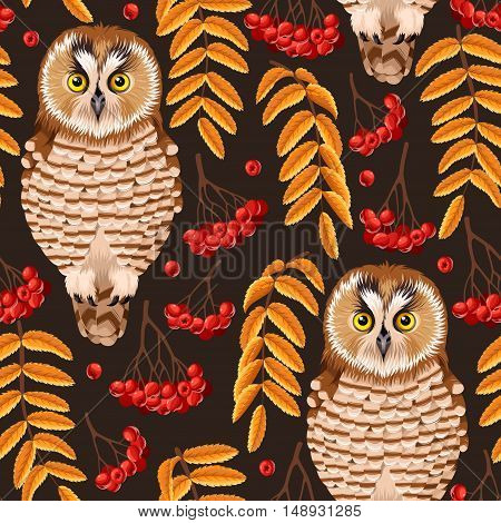 Owl and rowan berries and leaves vector seamless background