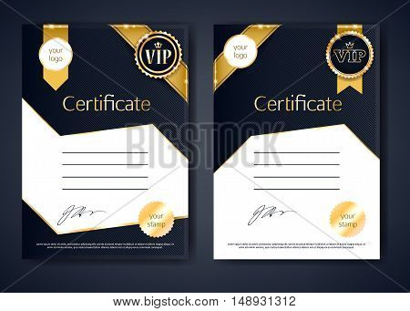 VIP premium certificates templates set. Black and golden design. Golden ribbons with round stamp label decorative vector background.