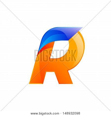 R letter blue and Orange logo design Fast speed design template elements for application.