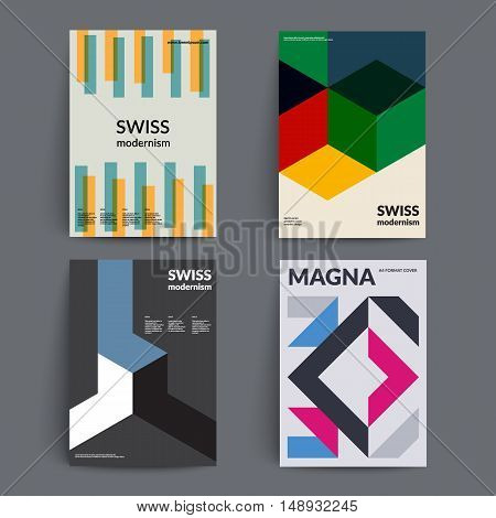 Retro covers set. Swiss style modernism. Eps10 vector template.