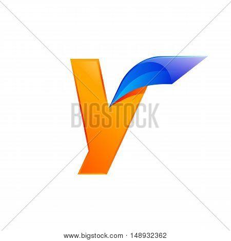 Y letter blue and Orange logo design Fast speed design template elements for application.