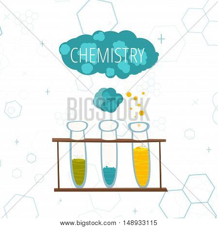 Colorful illustration with scientific instruments and equipment for research. Vector illustration poster