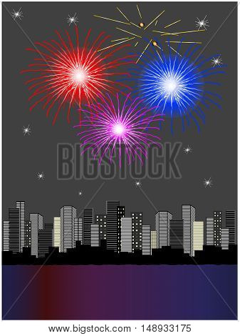 Vector fireworks above city - illustration, abstract background