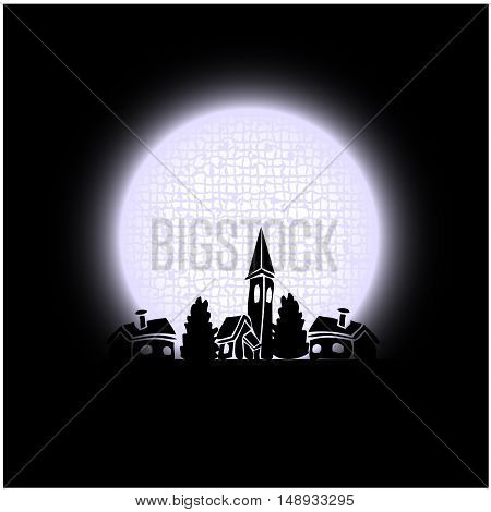 Vector moon above town - illustration, abstract background
