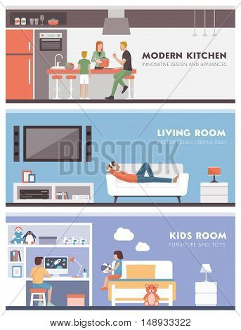 Domestic lifestyle and room interiors banners set with people: kitchen living room and kids bedroom
